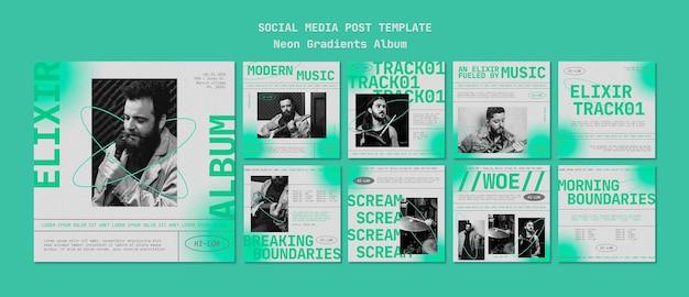 Postagem de álbum de gradientes de néon nas redes sociais