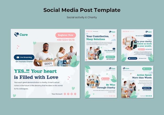 Postagem de atividades sociais e de caridade nas redes sociais