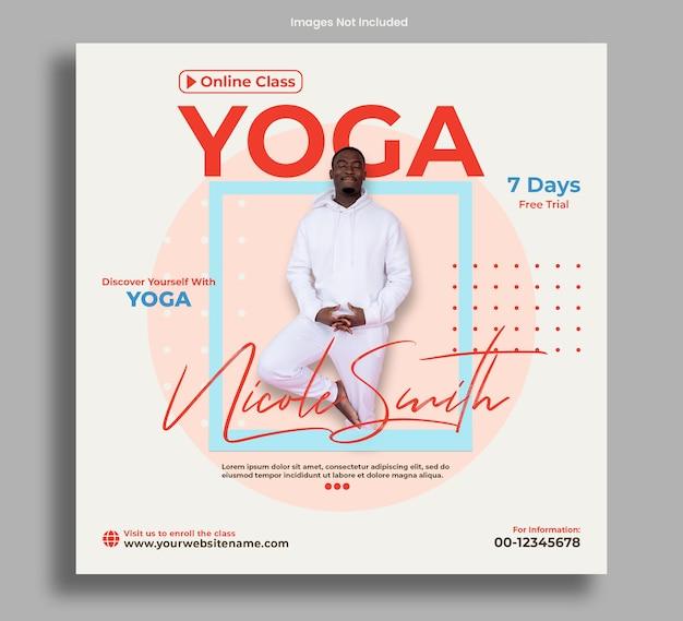 Postagem de banner de aula de ioga online ou panfleto limpo