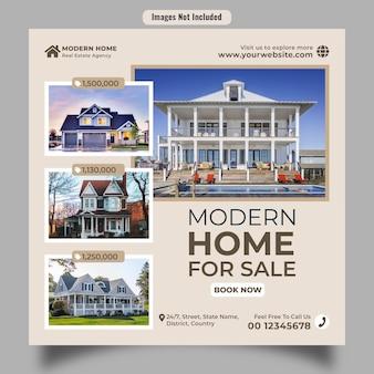 Postagem de banner de venda de casa com várias casas, incluindo etiqueta de preço