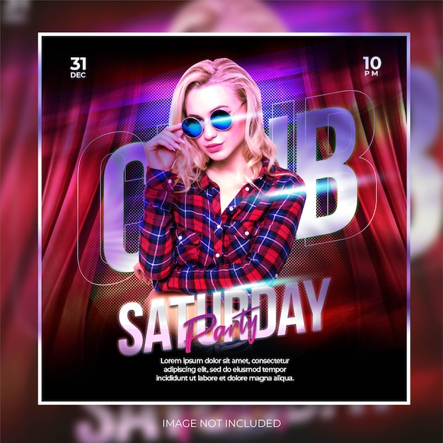 Postagem de banner em mídia social vermelha vibrante festa noturna de música