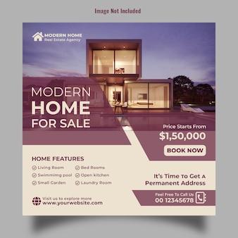Postagem de banner imobiliário e modelo de flyer quadrado