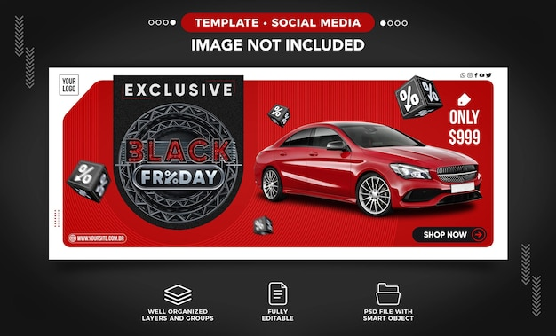 Postagem de banner na mídia social de vendas de carros na black friday