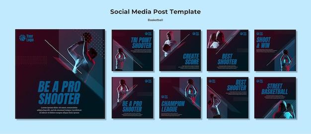 Postagem de basquete nas redes sociais