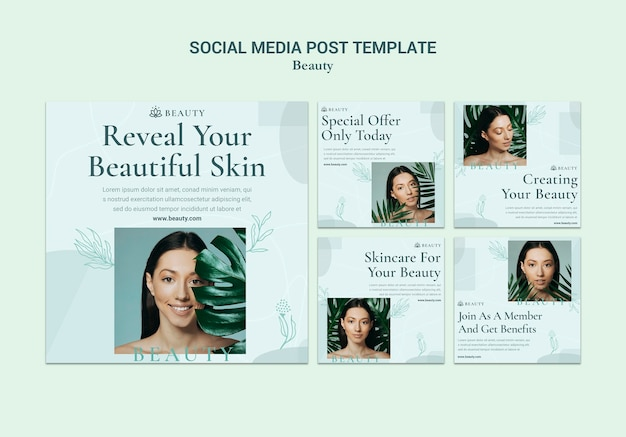 Postagem de beleza nas redes sociais