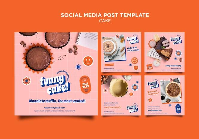 Postagem de bolo delicioso na mídia social