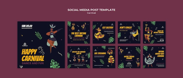 Postagem de carnaval na mídia social