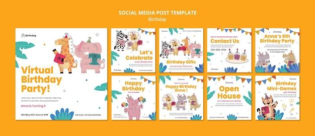Postagem de comemoração de aniversário na mídia social