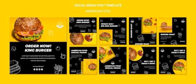 Postagem de comida americana na mídia social