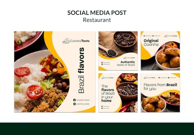 Postagem de comida brasileira na mídia social