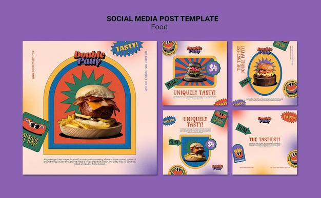 Postagem de comida deliciosa nas redes sociais
