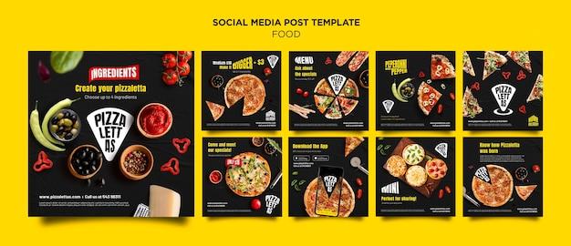 Postagem de comida italiana na mídia social