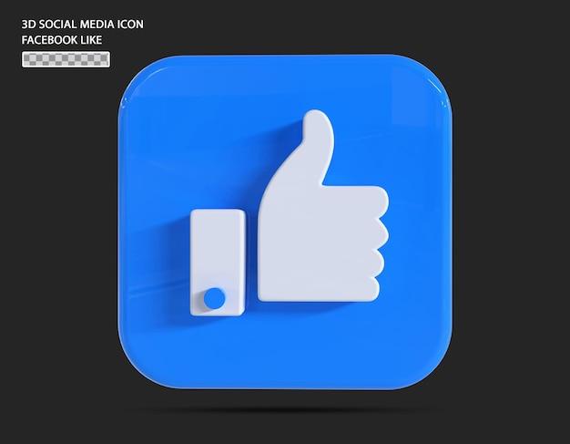 Postagem de conceito de renderização em 3d do facebook like