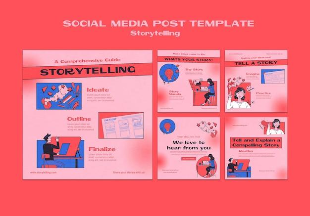 Postagem de contação de histórias na mídia social