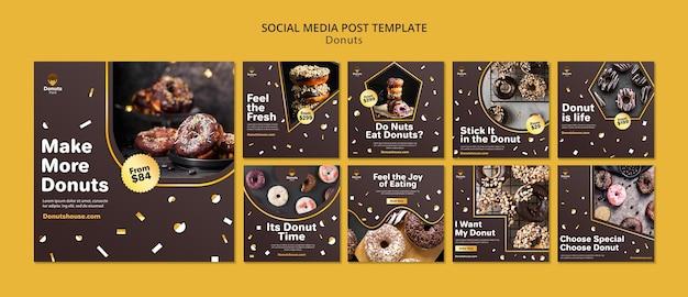 Postagem de deliciosas rosquinhas nas redes sociais