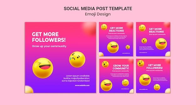 Postagem de design de emoji nas redes sociais