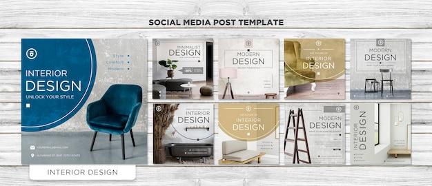Postagem de design de interiores na mídia social