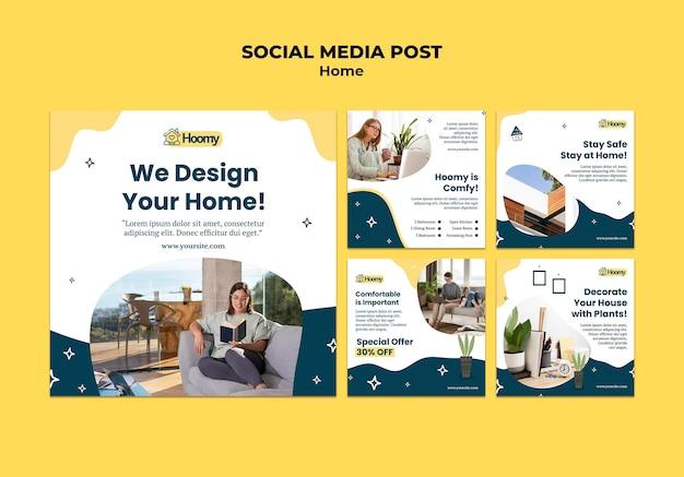 Postagem de design doméstico nas redes sociais Psd grátis