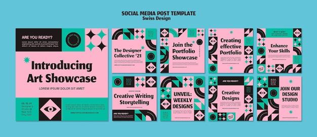 Postagem de design suíço nas redes sociais