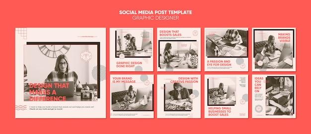 Postagem de designer gráfico nas redes sociais