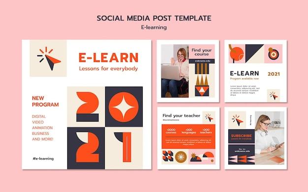 Postagem de e-learning nas redes sociais