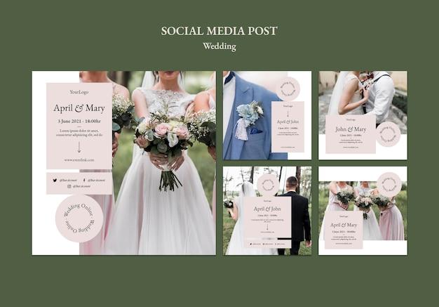 Postagem de evento de casamento na mídia social