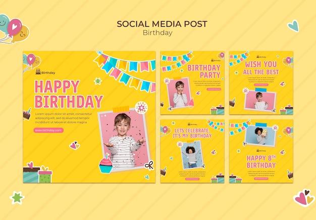 Postagem de feliz aniversário nas redes sociais
