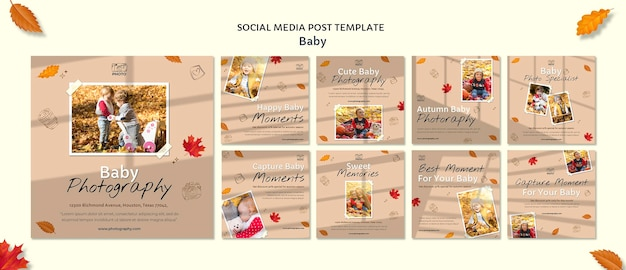 Postagem de fotografia de bebê na mídia social
