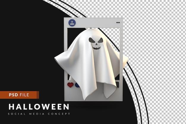 Postagem de halloween nas redes sociais com fantasma 3d