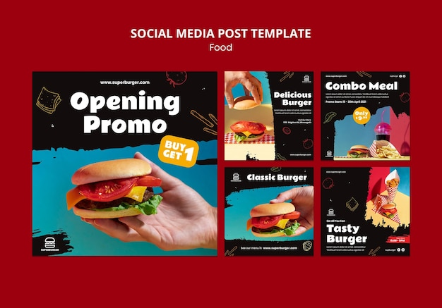 Postagem de hambúrguer delicioso na mídia social