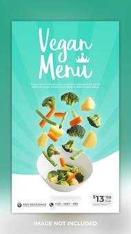 Postagem de história de mídia social de comida com menu vegano