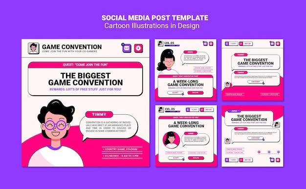 Postagem de ilustrações de desenhos animados na mídia social