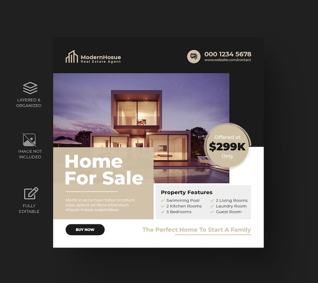 Postagem de instagram de imóveis imobiliários ou modelo de publicidade de banner web quadrado