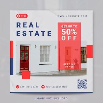 Postagem de instagram e modelo de banner de imóveis de interiores de casas