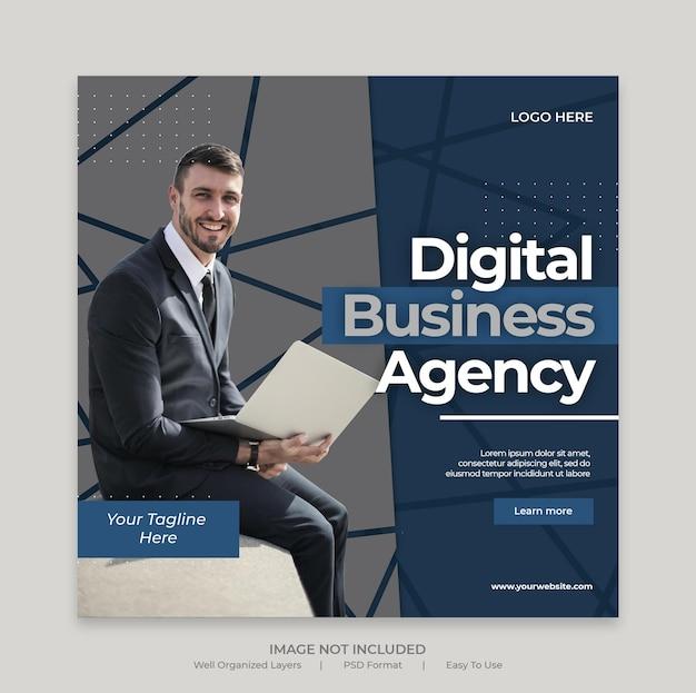 Postagem de marketing de negócios digitais em mídia social ou modelo de banner quadrado da web