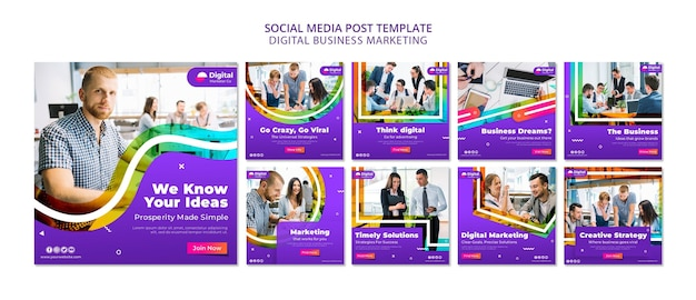 Postagem de marketing de negócios digitais na mídia social