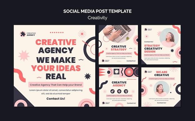 Postagem de mídia social da agência de criatividade