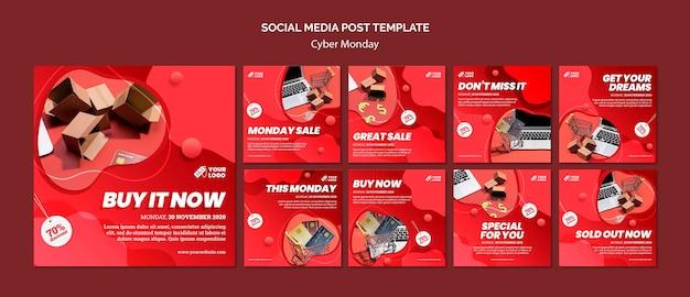 Postagem de mídia social da cyber monday