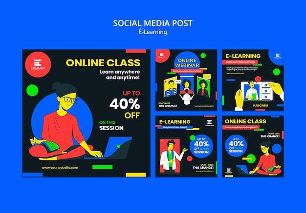 Postagem de mídia social da plataforma de e-learning