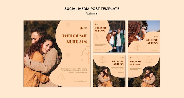 Postagem de mídia social da temporada de outono