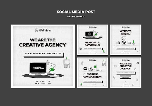Postagem de mídia social de agência de design