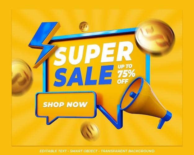 Postagem de mídia social de banner de super venda promoção 3d Psd Premium
