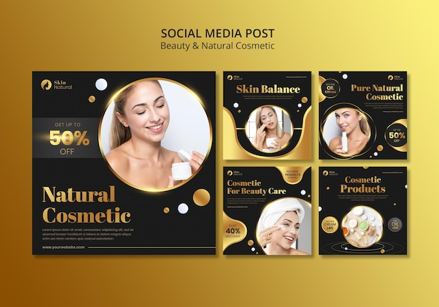 Postagem de mídia social de beleza e cosméticos naturais