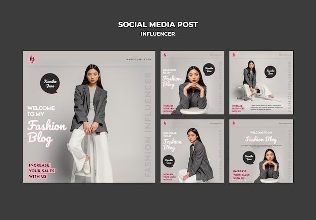 Postagem de mídia social de blogueira de moda