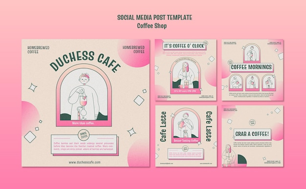 Postagem de mídia social de cafeteria