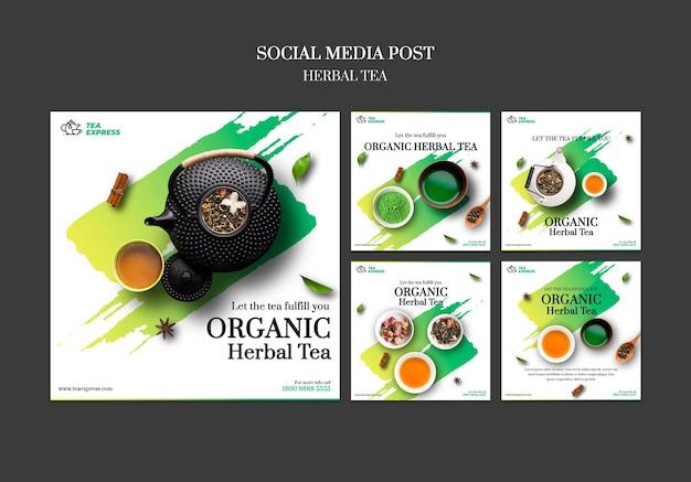 Postagem de mídia social de chá de ervas