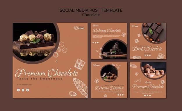 Postagem de mídia social de chocolate premium