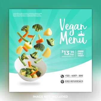 Postagem de mídia social de comida de menu vegano e postagem de instagram