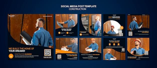 Postagem de mídia social de construção Psd Premium