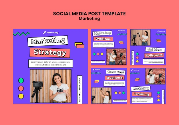 Postagem de mídia social de estratégia de marketing